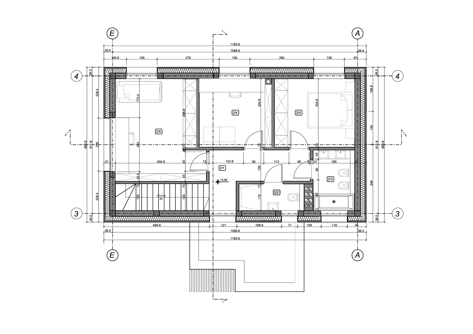 rzut piętra stodoły Anna Maria Sokołowska Architekt stodolove
